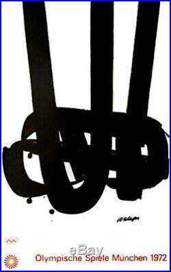 1972 Munich Olympic Poster ORIGINAL 25x 40 Artist Pierre Soulages Edition 3
