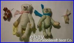 2 Artist Teddy + chair ROOSEVELT BEAR Co Tiny MINIATURE ooak SET Cathy Peterson