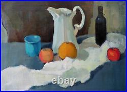 Academic Still Life Apple Orange Vintage Cezanne Realistic Fine Art Oil Painting