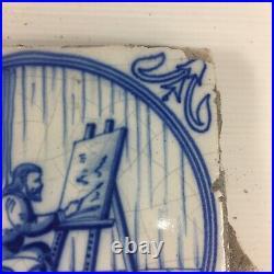 Antique Delft Tile Blue & White Artist Painting At Easel 13cm X 13cm