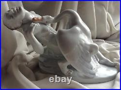Antique Herend Porcelain Nude Lady Figure Leda Swan Bird Hungarian Artist Signed