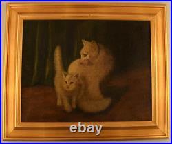 Arthur Heyer (1872-1931), Hungarian artist. 2 white cats in interior