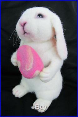 Artist Original 2014 OOAK Needle Felted Wool 8 White Lop-Ear Bunny Rabbit withEgg