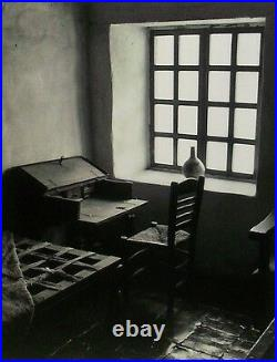 Artist Signed Black & White Silver Gelatin Photo Mission Window Scene