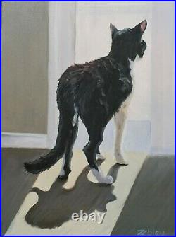 Black, White Cat Shadows Oil Painting, Painted to Order, Original Art, RZZART