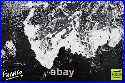 Black White Modern Abstract Painting Art Textured Canvas 120cm x 120cm Franko