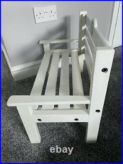 Charlie Bears White Wooden Bench Chair Rare Htf