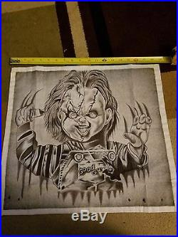 Chuky ink drawing on white cloth, artist is a prison inmate at Calipatria State