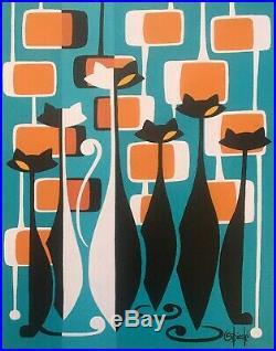 Clee Sobieski Painting Mid Century Modern Black White Kitty Cat Retro Mod Atomic