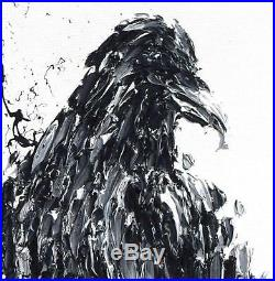 Crow 40 painting, animal art, raven bird oil on canvas, black and white colors