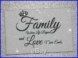 Diamond Embellished Sparkly glitter Family canvas! Mothers day