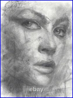 ELISABETH Female Portrait Study Original Chalk Charcoal Drawing ABSTRACT REALISM