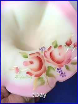 Fenton Art Glass hand painted artist signed Burmese Beauty 4 horn epergne