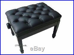 GENUINE LEATHER Ebony High Polish Adjustable Artist Piano Bench/Stool/Chair