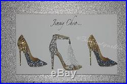 Glitter Jimmy Shoe Canvas Picture Wall Art White/Gold/Silver. Any Size