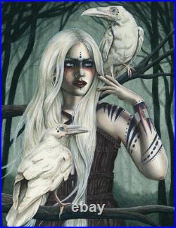 Gothic Fantasy Art ORIGINAL PAINTING White Ravens Birds Shaman Tribal Dark Trees