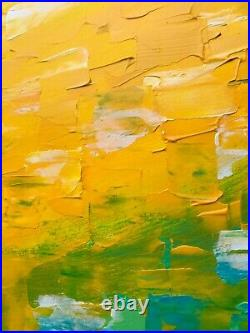 HUGE XL ABSTRACT PAINTING ORIGINAL ART CANVAS gold turquoise blue white 1.5M