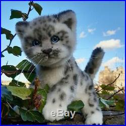 Handmade Realistic Snow Leopard cub/cat/kitten teddy OOAK (27cm)