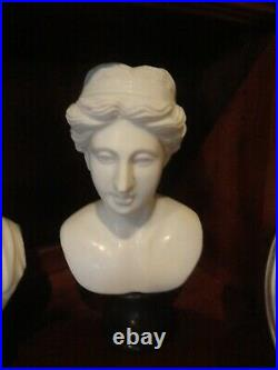 Heavy Marble Bust Historical Figure Female Statue Fine Art Vintage Form
