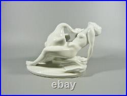 Herend, Leda And The Swan, Art Deco, Artist Signed White Porcelain Figurine