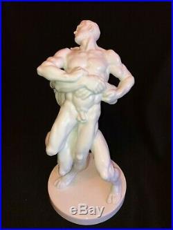 Herend Porcelain Large White Olympic Wrestler Figurine Artist Signed 5788