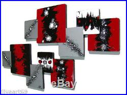 Hot Red N Black Abstract Art Wall Sculpture Hangings Unique Wall Decor Wood Artist Blank White