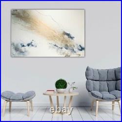 Huge statement original art. Modern fluid art painting in white, navy & gold