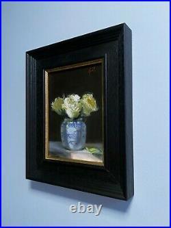 Jackie Smith Still Life White Roses Flowers original art oil framed painting