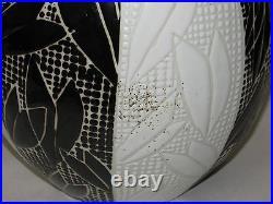 Japanese Studio Pottery Vase Mid Century Art Deco Artist Signed Black and White