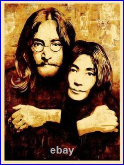 John & Yoko Canvas Silk Screen Print by Shepard Fairey Signed Artist Proof AP
