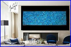 Large 93 blue white black original Art oil Painting Artwork