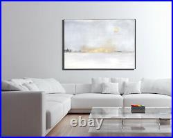 Large abstract painting original canvas acrylic white gold custom minimalist art