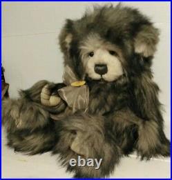 Large plush Rare teddy Charlie bears Dorothy 2010. 22 Grey + White