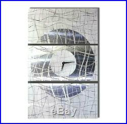 MASSIVE 62× 40 Metal Wall Art Clock MODERN WHITE SILVER Original. Jon Allen