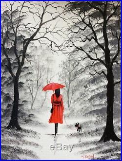 Mal. Burton Original Oil Painting. Red Umbrella Black White Woman Dog Art