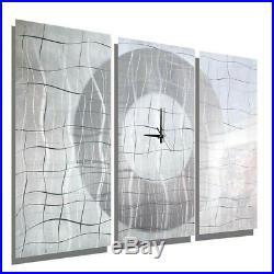 Metal Wall Art Clock HYPER MODERN White Silver Painting SIGNED CLOCK Jon Allen