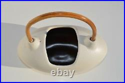 Modern Mid-century Egg Shape Pottery Basket Wooden Handle Made By Israel Artist
