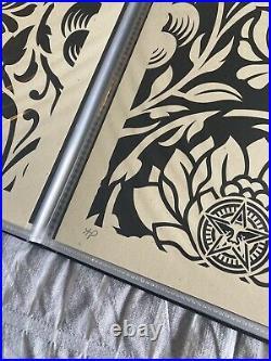 Obey Shepard Fairey Floral Harmony Set Poster Print Black White Artist Proof AP