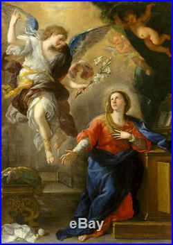 Oil painting The annunciation angel holding white flowers with Madonna MARY 36