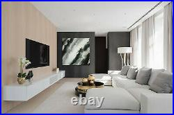 Original Abstract Painting 48x48 Large Canvas Art Black White Gray Abstract Art