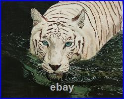 Original Artwork oil painting White tiger on stretch canvas, wildlife 16''x20