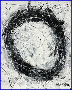 Original Modern Black White Art Contemporary Abstract Painting Dan Byl Huge 4x5
