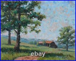 Original Oil Arkansas Barn Tree Meadow Grass Country Hills White River Haigh