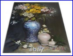 Original Oil Painting Still Life Realism Blue White Vase w Flowers by Z. Li11x14