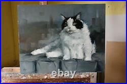 Original Oil painting portrait of a black and white cat by uk artist j payne