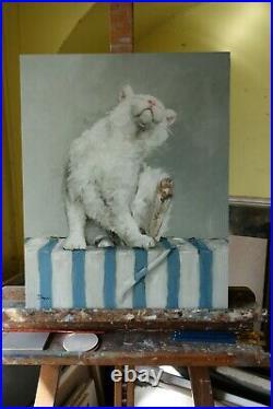 Original Oil painting portrait of a white cat by uk artist j payne