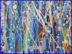 Original Very Large Abstract Modern Wall Art Blue Drip & Stripes Canvas Painting