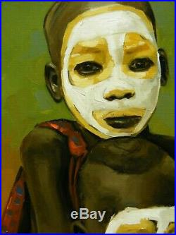 Original oil painting 2 African boys tribal portrait by UK artist j payne