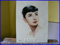 Original oil painting portrait of audrey hepburn by UK artist j payne