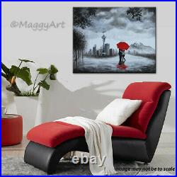 Original painting, Seattle lover, kissing in rain, black white red, 30x24 inch
